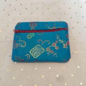 Handbags - Sky blue floral print satiny coin purse